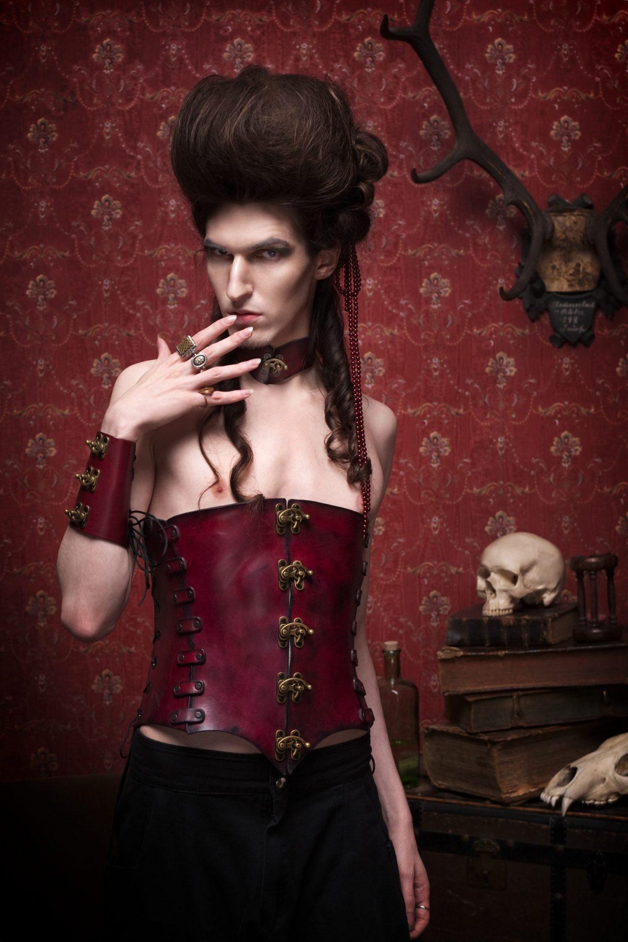 man corset, leather