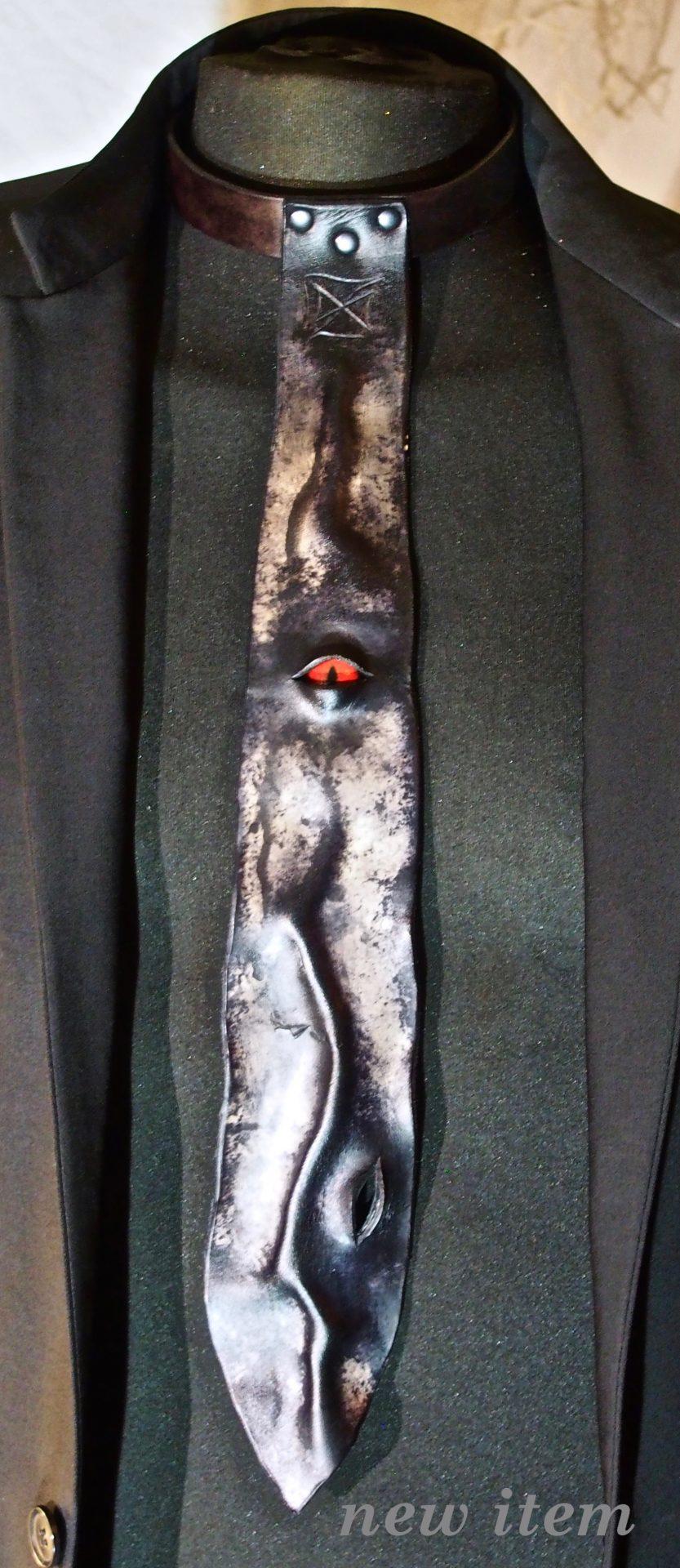 leather tie, wearable art